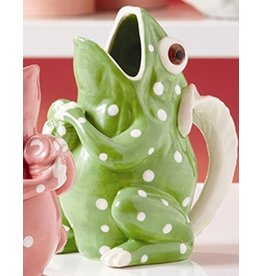 Twos Company Frog with Dots Ceramic Drink Pitcher-Vase-Green