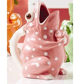 Twos Company Frog with Dots Ceramic Drink Pitcher-Vase-Pink