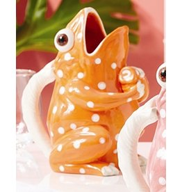 Twos Company Frog with Dots Ceramic Drink Pitcher-Vase-Orange