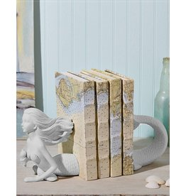 Twos Company Mermaid Bookends Pair-Upper Body and Tail- White