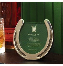 Twos Company Horseshoe Photo Frame w Mint Julep Recipe Holds 2.5x3.5 Photo