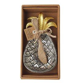 Mud Pie Pineapple Metal Bowl w Wood Spreader 4855042 Mud Pie Gifts