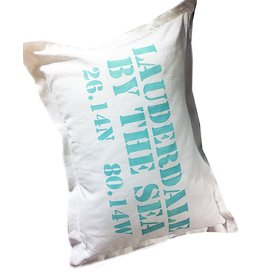 MFH Cotton Pillow 18x25 w Lauderdale-By-The Sea-White w Oasis