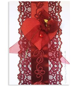 Constance Kay Art Card Heart w Red Lace by Constance Kay