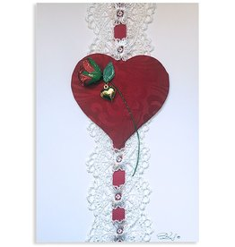 Constance Kay Art Card Heart w White Lace by Constance Kay