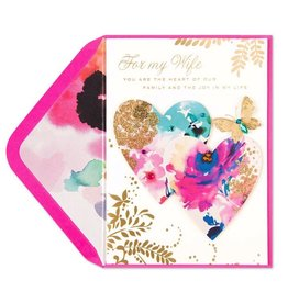 Papyrus Greetings Mothers Day Card For Wife Floral Hearts w Butterfly