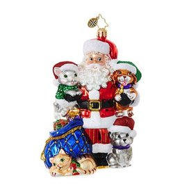 Christopher Radko Paws For Claus Santa Pets Christmas Ornament 1018659