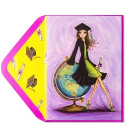 Papyrus Greetings Graduation Card Bella Girl with Globe