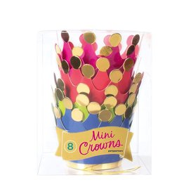 Party Partners Mini Crowns Party Hats w Gold Foil Ball Tips Set 8PK
