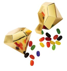 Party Partners Gold Diamond Gem Shaped Party Favor Gift Boxes 4PK