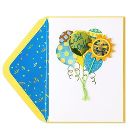 Papyrus Greetings Get Well Card Green and Blue Cheery Balloons