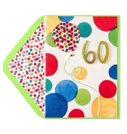 Papyrus Greetings Birthday Card 60th Bright Dots