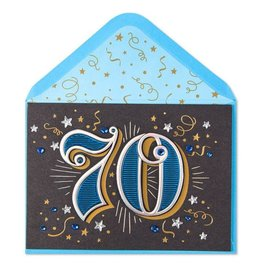 Papyrus Greetings Birthday Card 70th With Stars