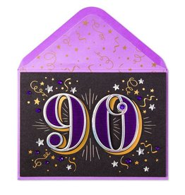Papyrus Greetings Birthday Card 90th With Stars
