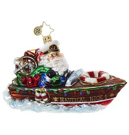 Christopher Radko Nautical Nick Santa Speed Boat Ornament 1018794