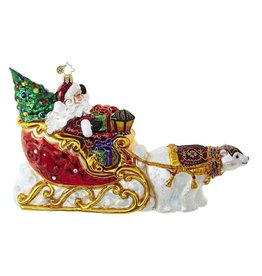 Christopher Radko Polar Bear Run Puling Santas Sleigh Ornament 1018726