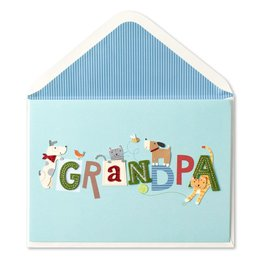 Papyrus Greetings Fathers Day Card for Grandpa Lettering w Dogs n Cats