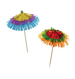 Party Partners Umbrella Party Picks 12Pk Metalic w Paper Fringe