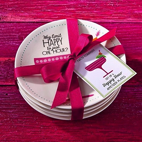 Twos Company Happy Hour Appetizer Plates Gift Set of 4