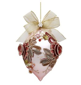Mark Roberts Christmas Decorations Vintage Floral Jewel Ornament Coral