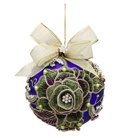 Mark Roberts Christmas Decorations Vintage Floral Jewel Ornament Pcock