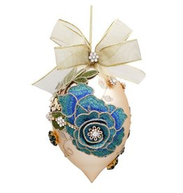 Mark Roberts Christmas Decorations Vintage Floral Jewel Ornament Blue