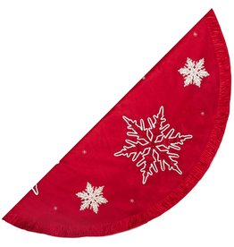 Kurt Adler Christmas Tree Skirt 60in Embroidered Snowflakes w Pleats