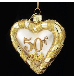 Kurt Adler Noble Gems Glass 50th Anniversary Heart Ornament