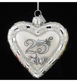 Kurt Adler Noble Gems Glass 25th Anniversary Heart Ornament