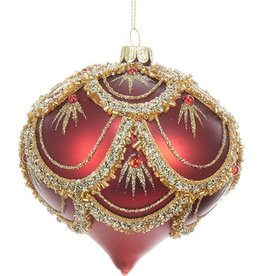 Kurt Adler Red w Gold Design Glass Ornament w Gems 4in Onion Shaped