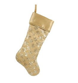 Kurt Adler Christmas Stocking w Gold Seqiuns and Snowflake SG0180 20in