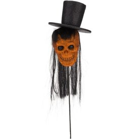 Mark Roberts Halloween Decor Life-size Skeleton Head w Hat Pick 31.5in