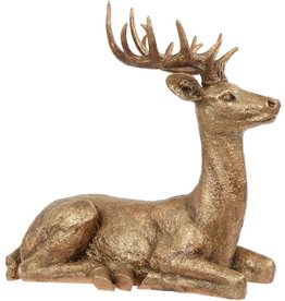 Mark Roberts Christmas Decorations Lg Gold Deer Laying Sitting 22 inch