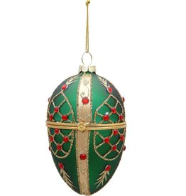 Mark Roberts Christmas Decorations Faberge Egg Ornament 4 inch Green