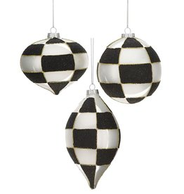 Mark Roberts Christmas Decorations Black White Checkered Ornaments Set