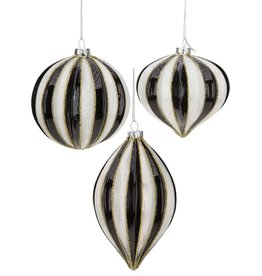 Mark Roberts Christmas Decorations Black White Striped Ornaments Set