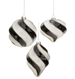 Mark Roberts Christmas Decorations Black White Spiral Ornaments Set