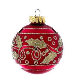 Kurt Adler Red w Gold Leaf Glass Ball Christmas Ornament 60mm Set of 4