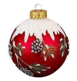 Kurt Adler Red w Snowy Pinecone Branch Christmas Ball Ornaments Set-3