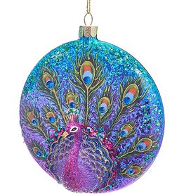 Kurt Adler Glittered Peacock Glass Disc Ornament TD1535-PU