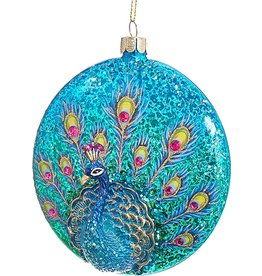 Kurt Adler Glittered Peacock Glass Disc Ornament TD1535-AQ