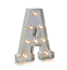 Darice LED Light Up Marquee Letter A 5915-702 Galvanized Silver Metal