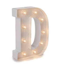 Darice LED Light Up Marquee Letter D 5915-782 White Metal