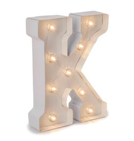Darice LED Light Up Marquee Letter K 5915-788 White Metal