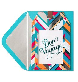 Papyrus Greetings Bon Voyage Card Die-Cut Luggage Tag by Papyrus