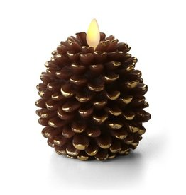Luminara Flameless Candle Pinecone Shaped 3.5x4 Inch Unscented