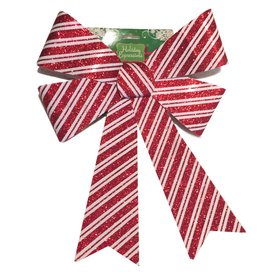 Darice Christmas Bow Red White Candy Stripe PVC Bow 12x17 inch