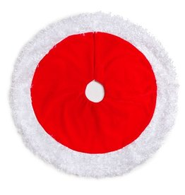 Darice Mini Christmas Tree Skirt 18D Inch Red w White Plush Border
