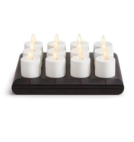 Luminara Flameless Candle Tea Lights Set of 12 Rechargeable w Base