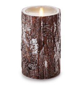 Luminara Flameless Candle Pillar w Silver Washed Bark 4Dx7H inch